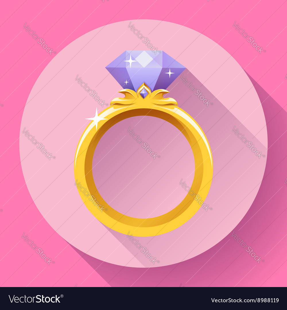 Diamond gold ring icon Flat 20 design Royalty Free Vector