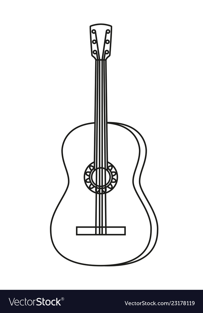 Line Art Black And White Acoustic Guitar Vector Image