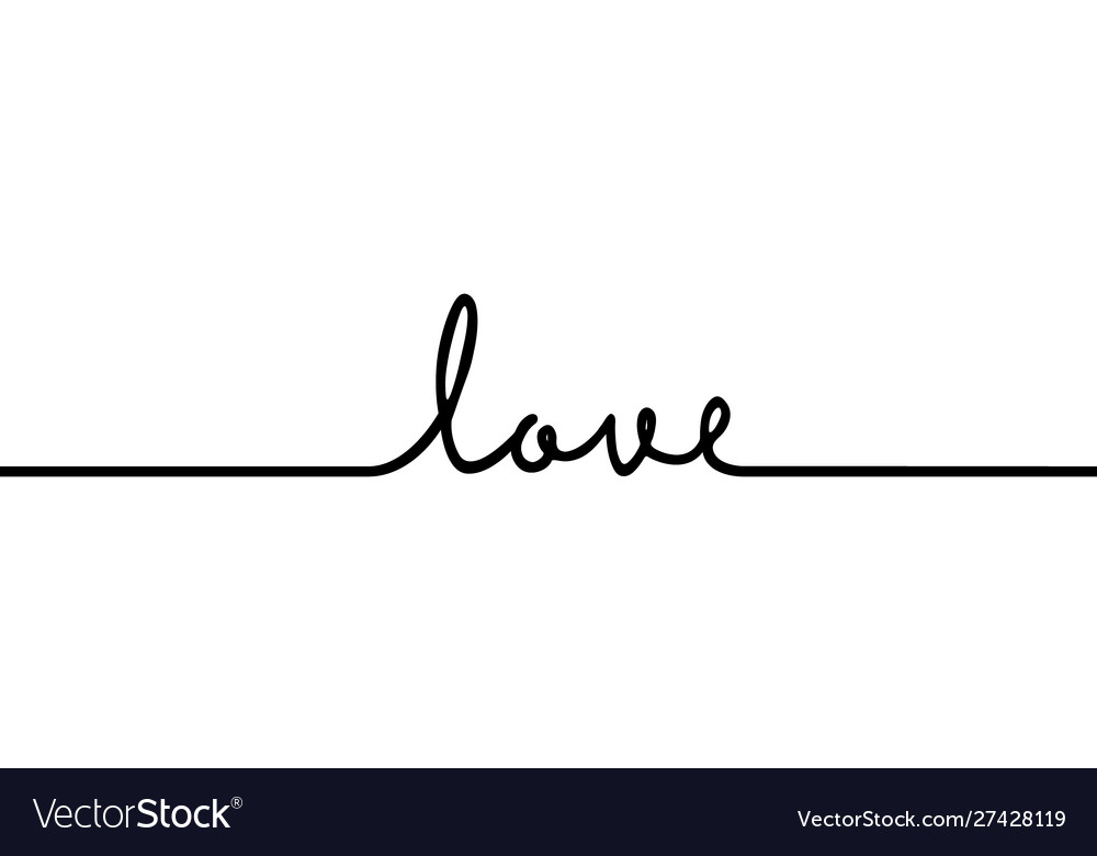 Love - continuous one black line with word