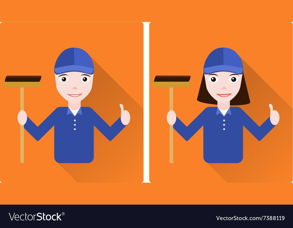 Mini set of two janitors