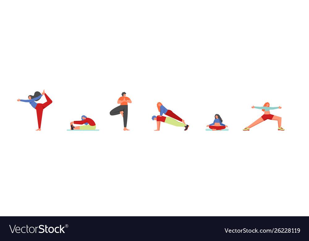 People doing yoga asanas flat isolated