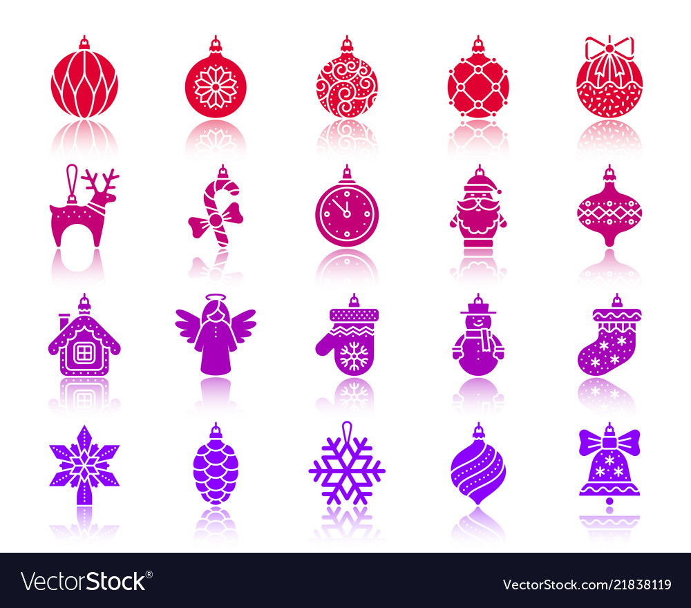 Tree decorations color silhouette icons set
