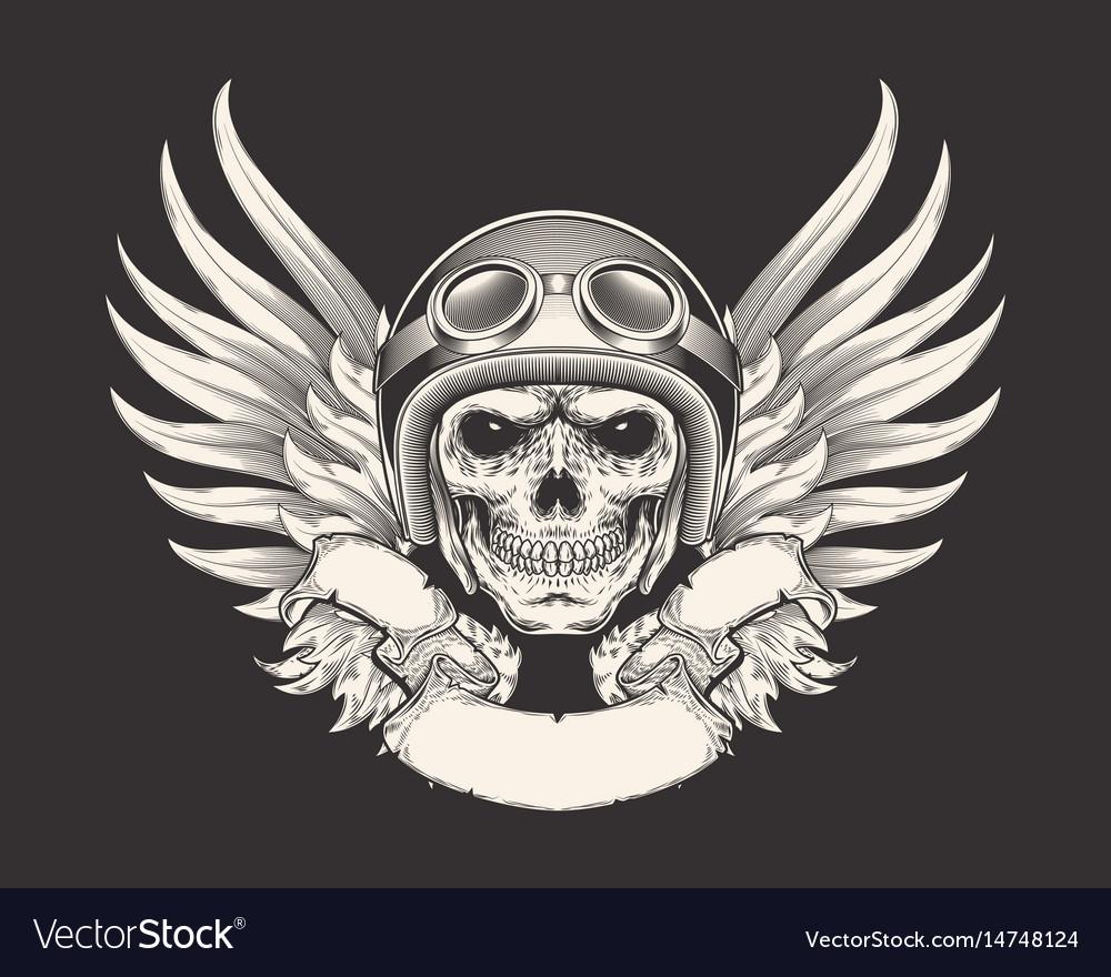 A skull racer in a helmet
