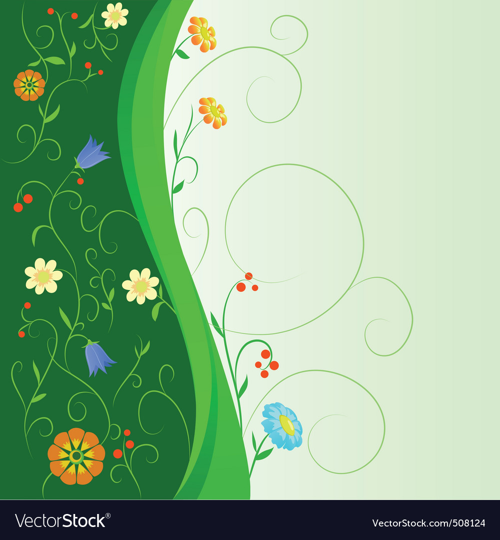 Abstract flowers with floral green stem