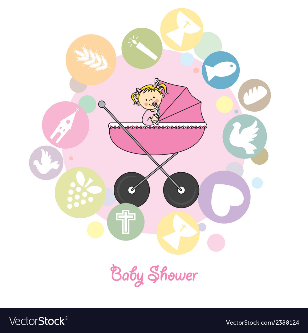 Baby girl baptism invitation card Royalty Free Vector Image