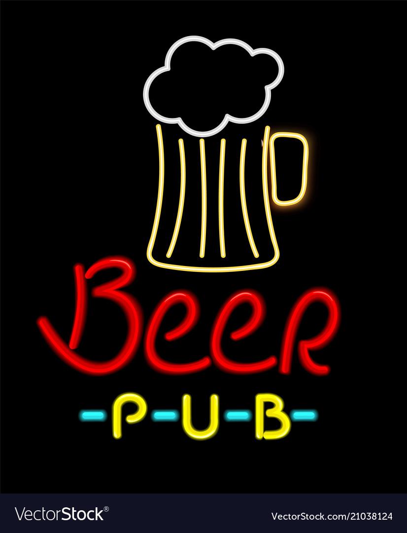Beer pub glowing icon color