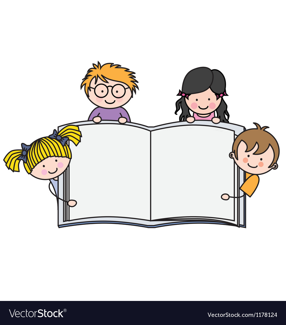 Children with a book with blank pages