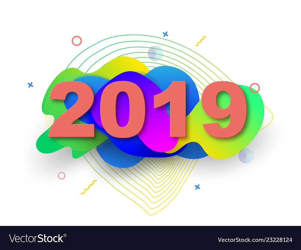 Creative design of a new year card in 2019