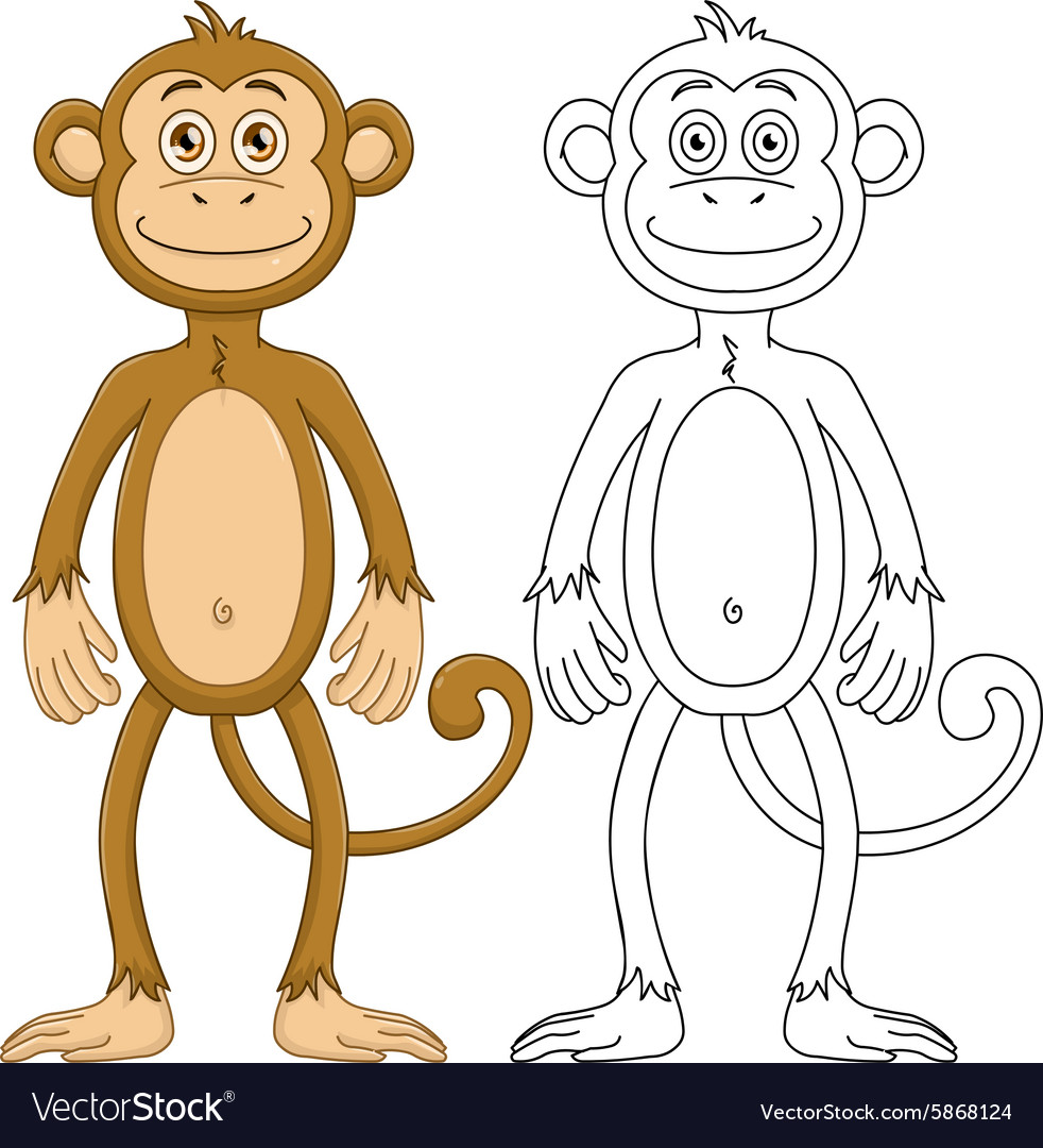 Cute Monkey With Lineart