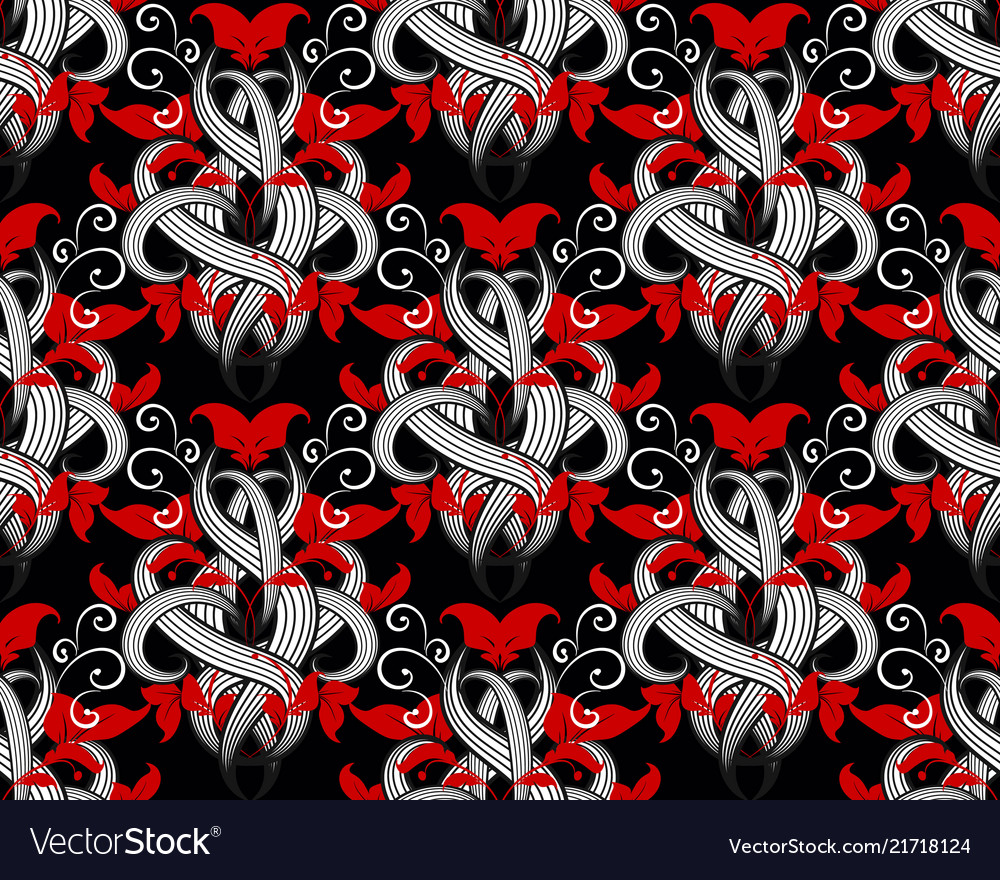 Floral modern black red white seamless pattern