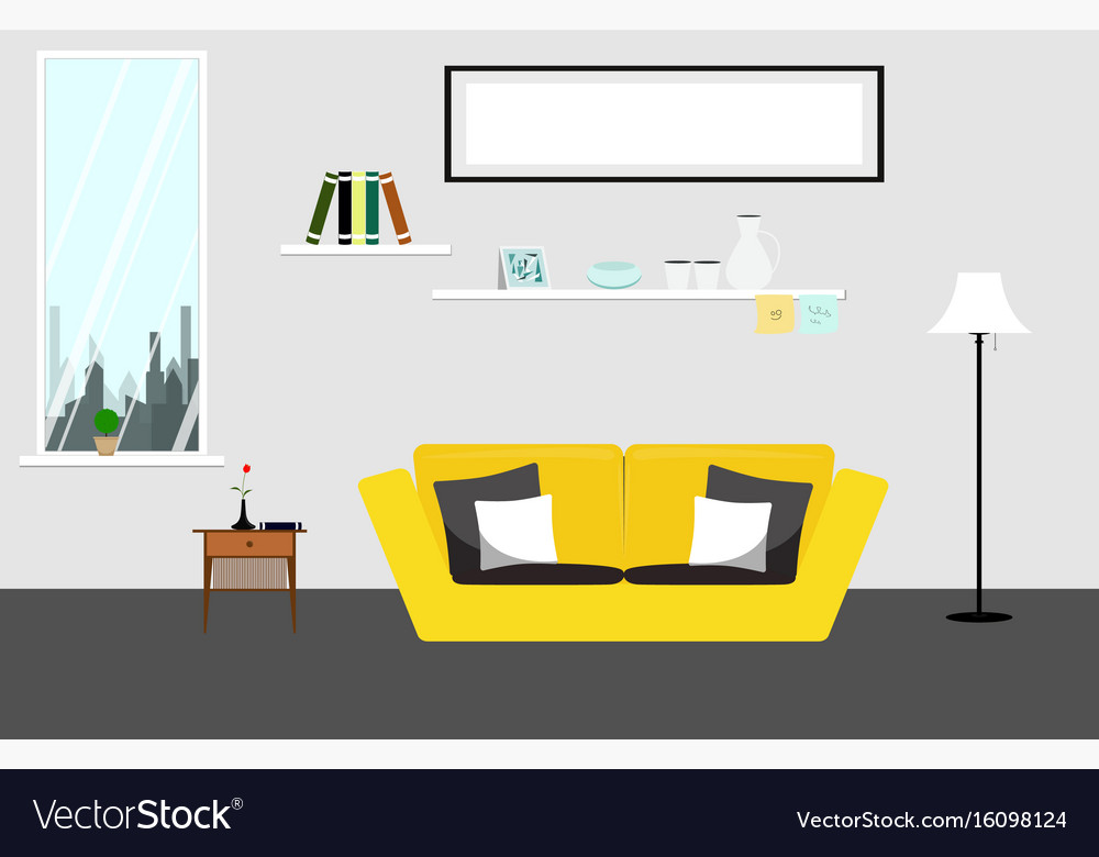 Living room with yellow sofa furniture of living vector image