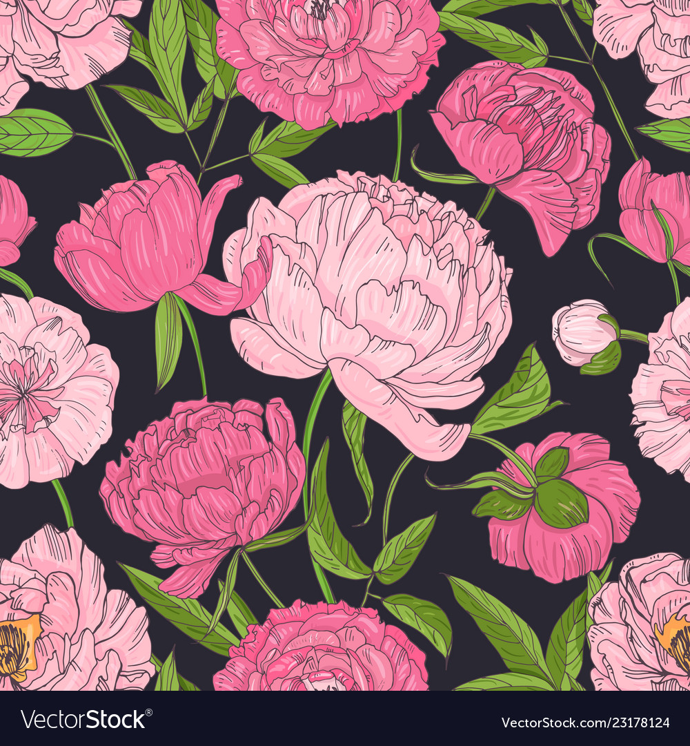 Natural seamless pattern with blooming pink