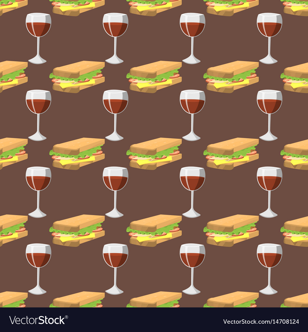Sandwiches with wine glass seamless pattern vector image
