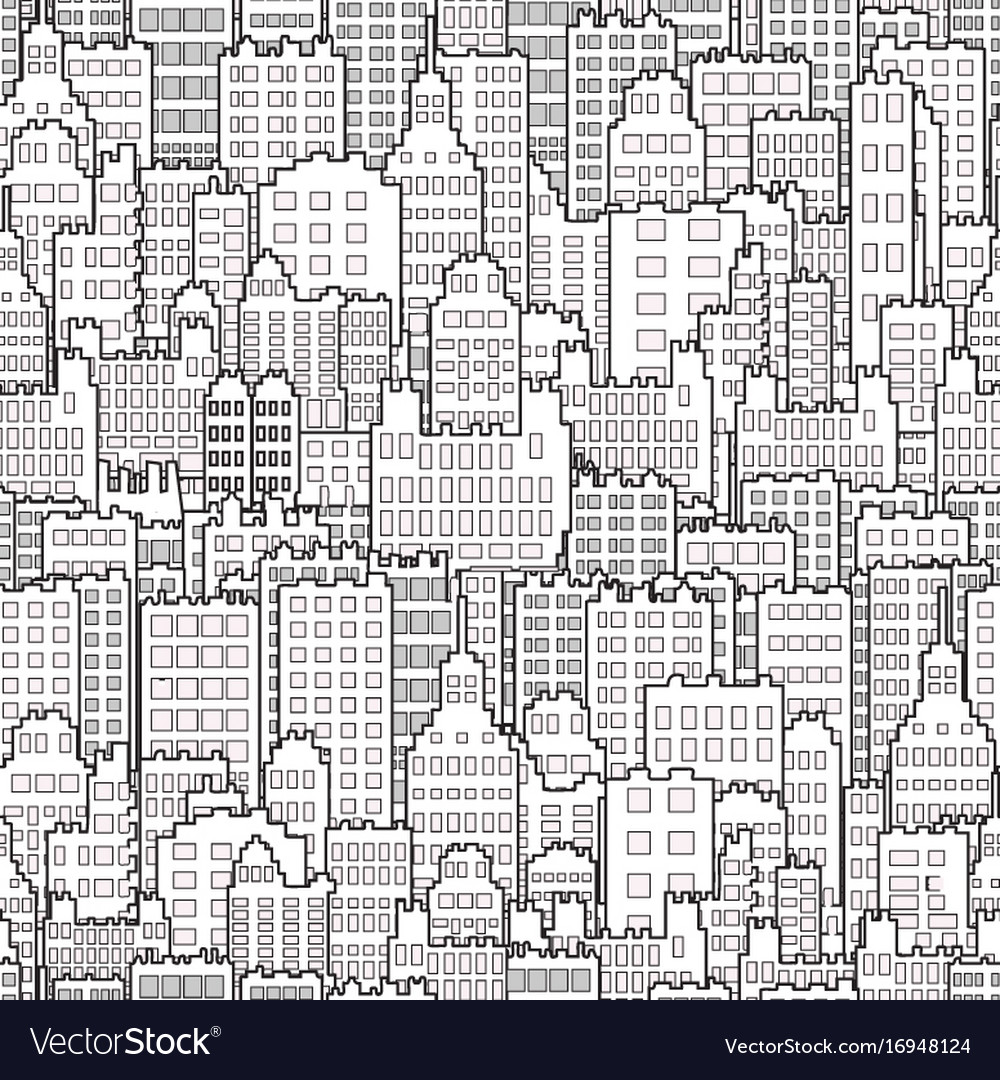 Seamless background with city building monochrome