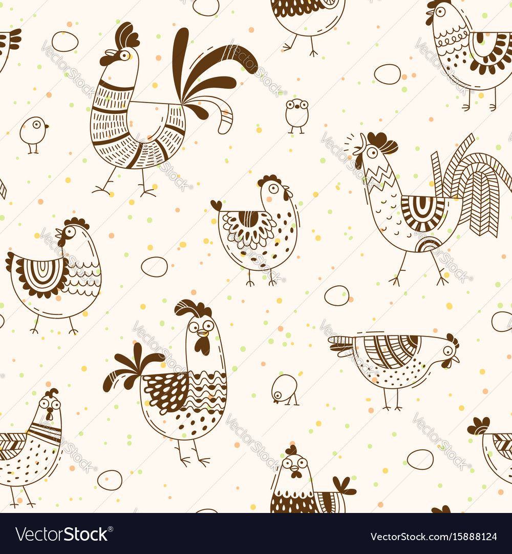Seamless pattern with chickens roosters eggs in