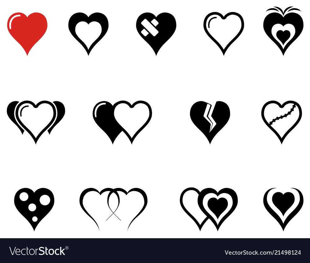 Set of hearts icons with red heart