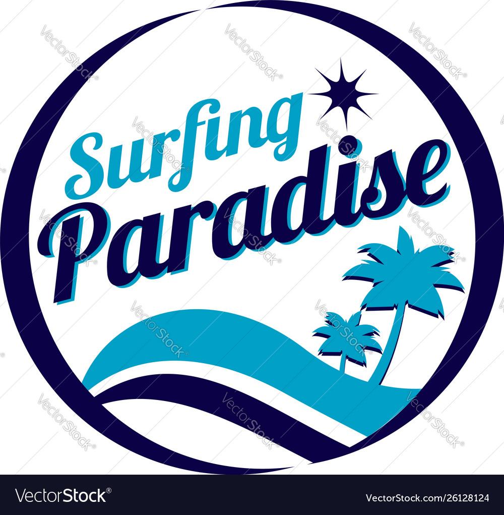 Surfing paradise logo sign symbol icon