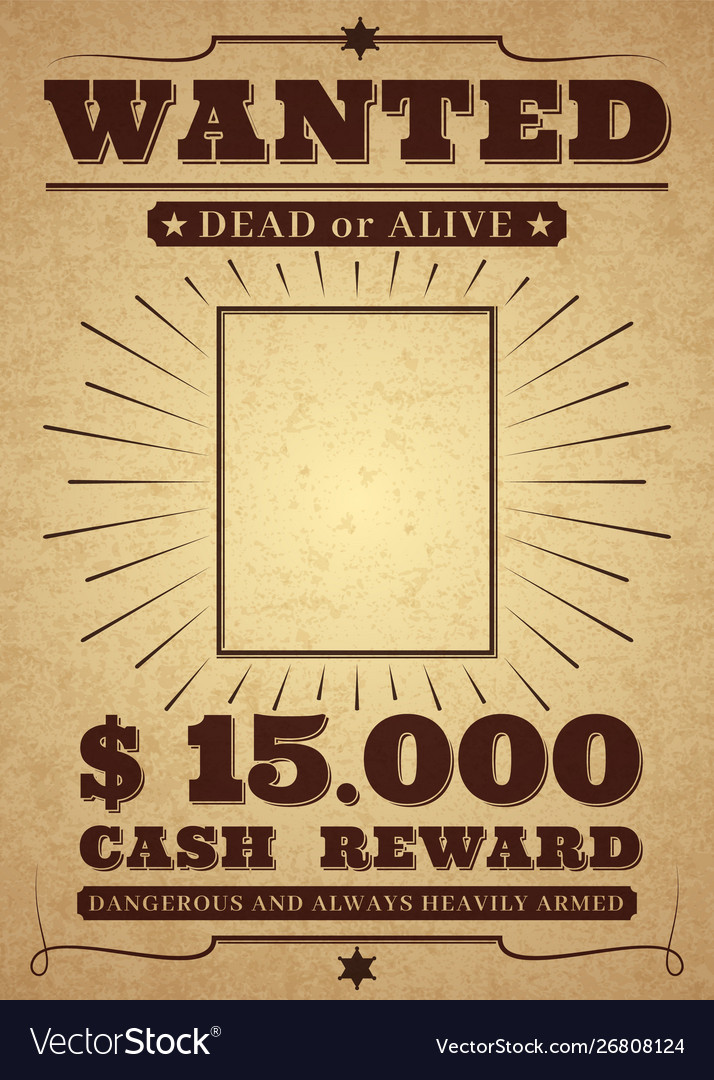 Western poster old west paper blank reward with