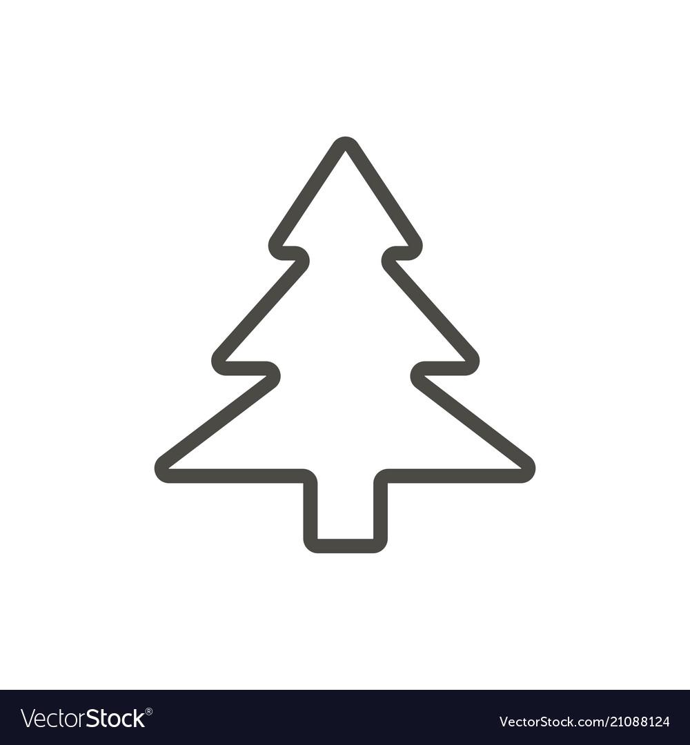 Xmas tree icon outline evergreen tree lin vector image