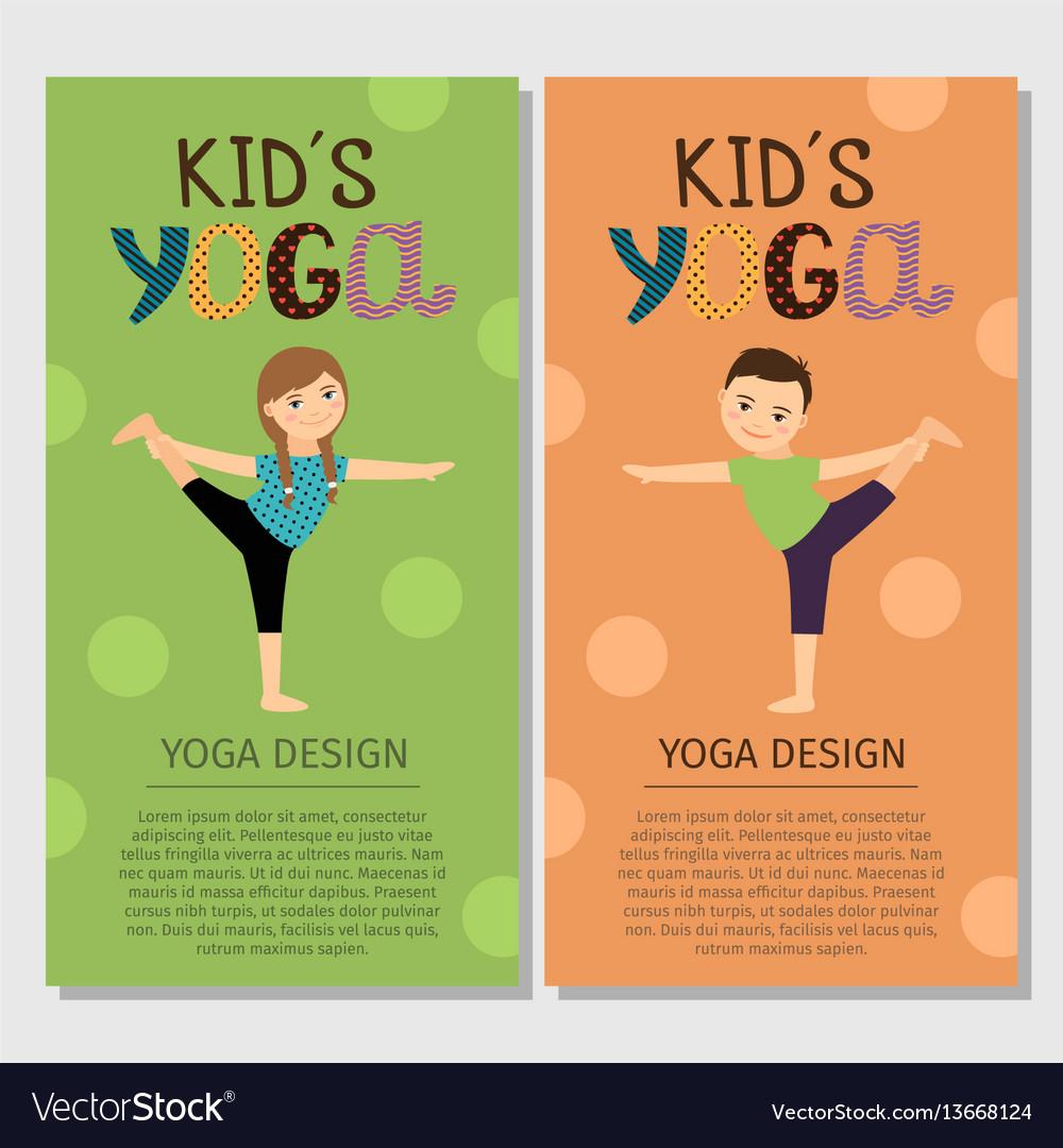 Yoga kids vertical flyer design Royalty Free Vector Image