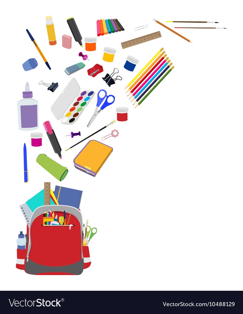 Background with school supplies flat