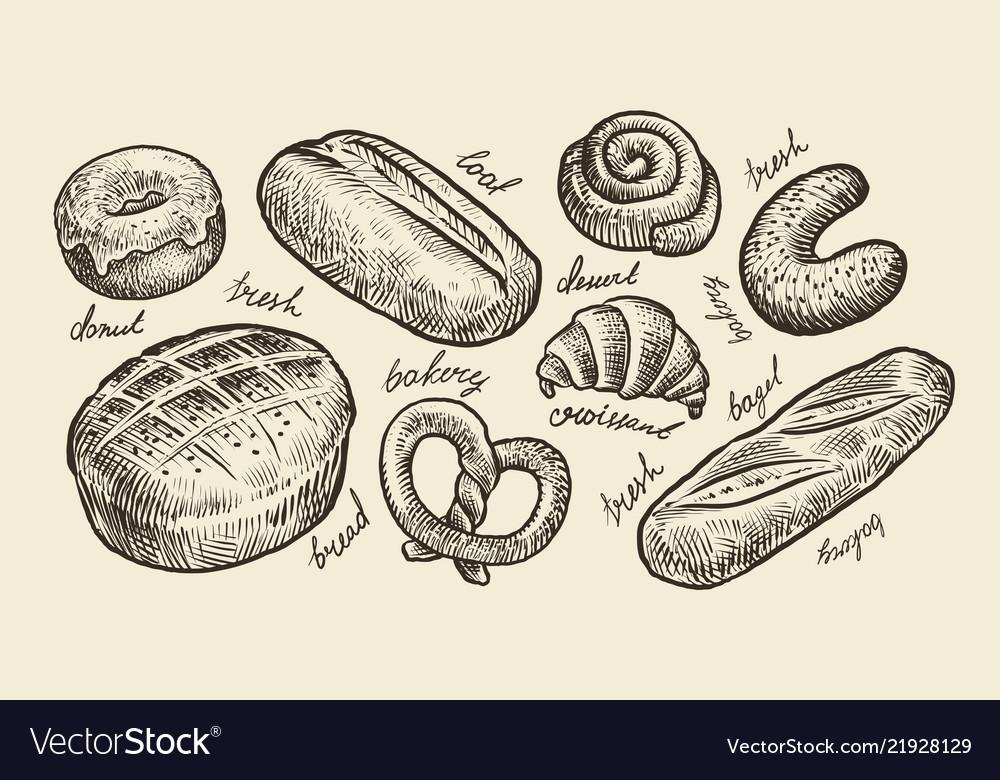 Bread bakery sketch fresh pastry food set of