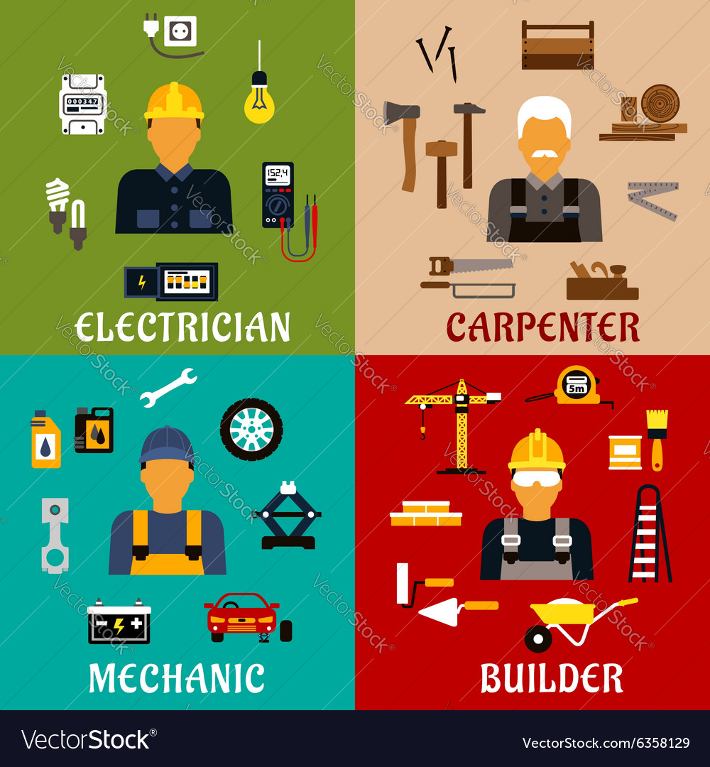 Builder electrician mechanic and carpenter icons