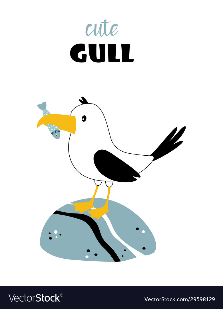 Card with cute seagull