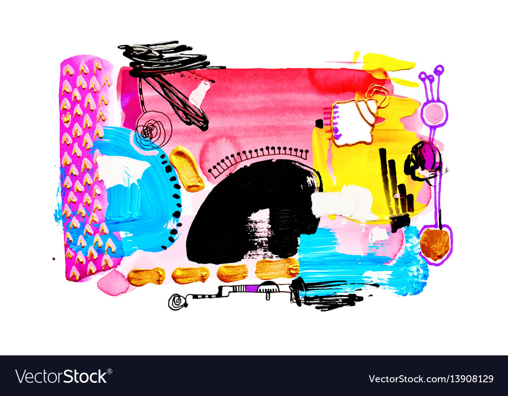 Contemporary abstract art watercolor painting vector image