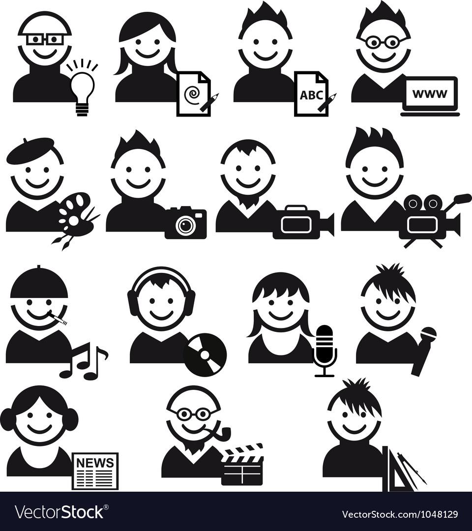 Creative people icon set vector image