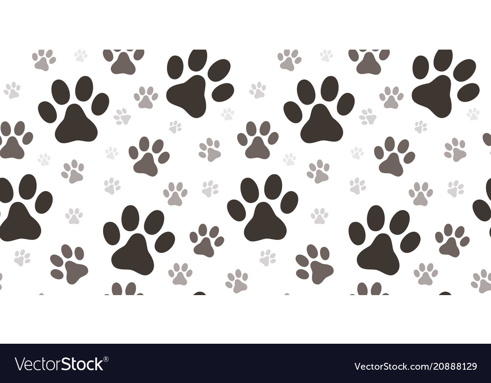 Dog paw print seamless pattern