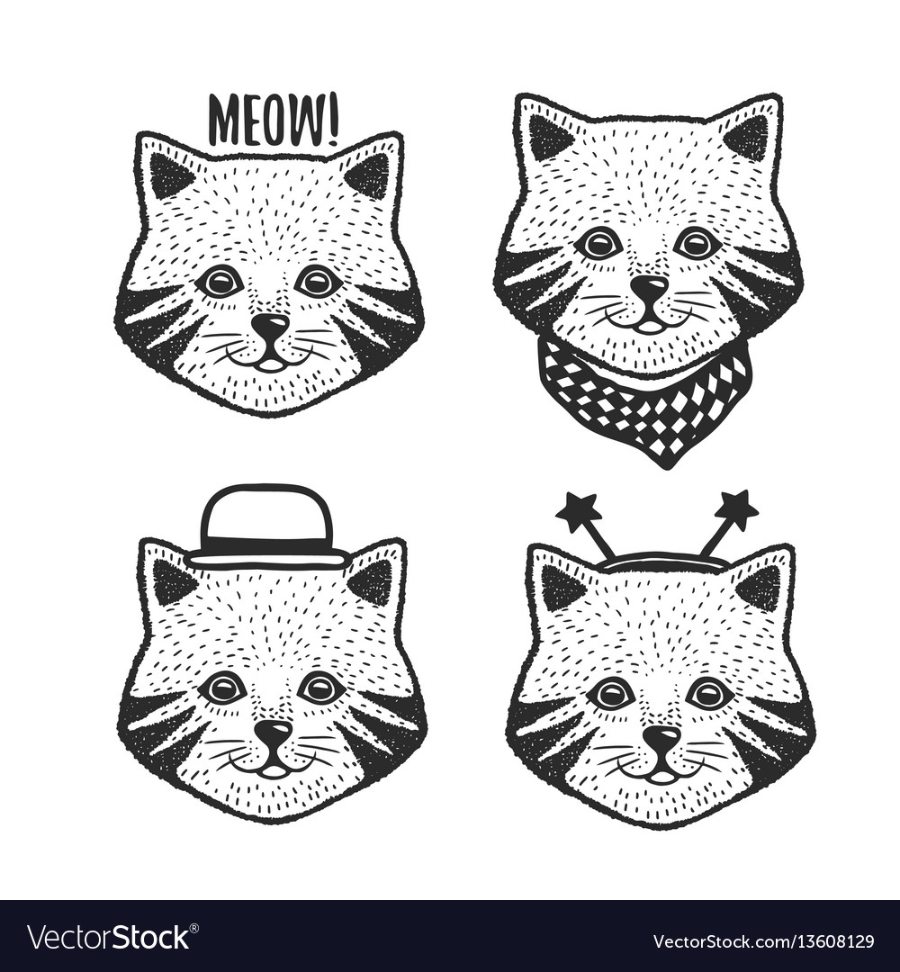 Hand drawn cartoon cat head prints set