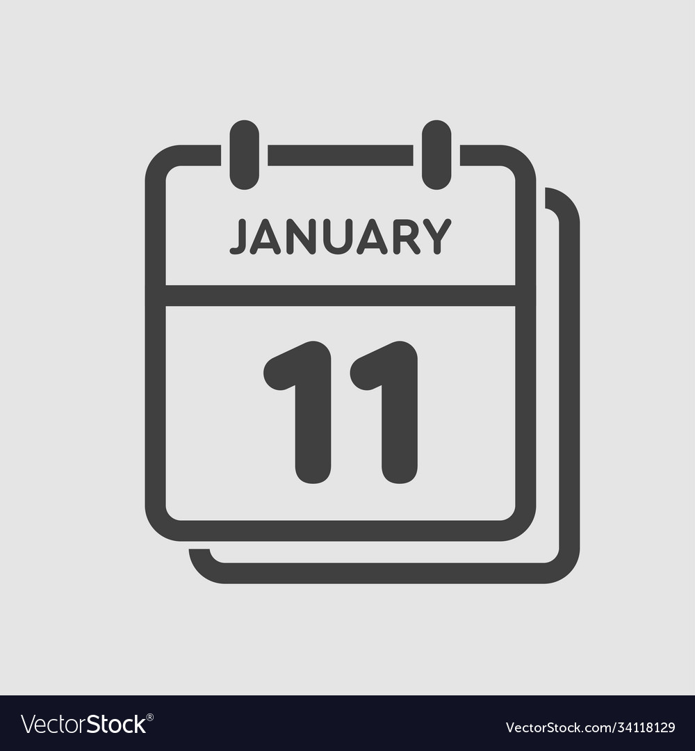 Icon Day Date 11 January Template Calendar Page Vector Image