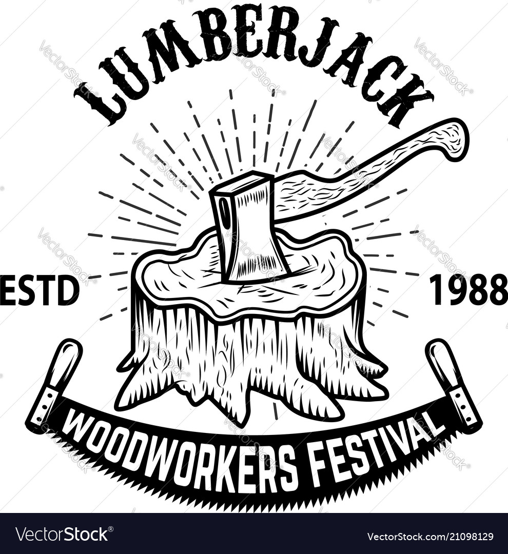 Lumberjack woodworkers festival stump with ax