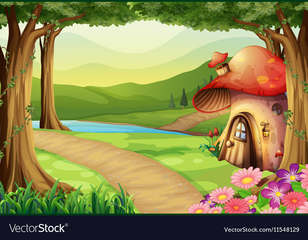 Mushroom house in the woods vector image