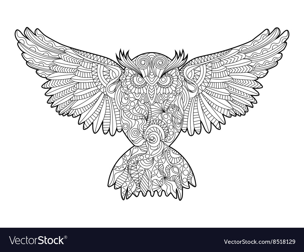Owl coloring book for adults Royalty Free Vector Image