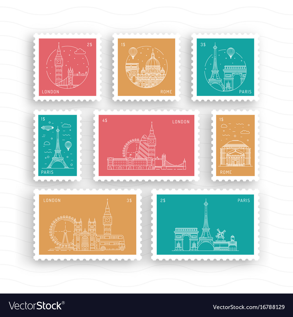 Postage stamps with architectural landmarks