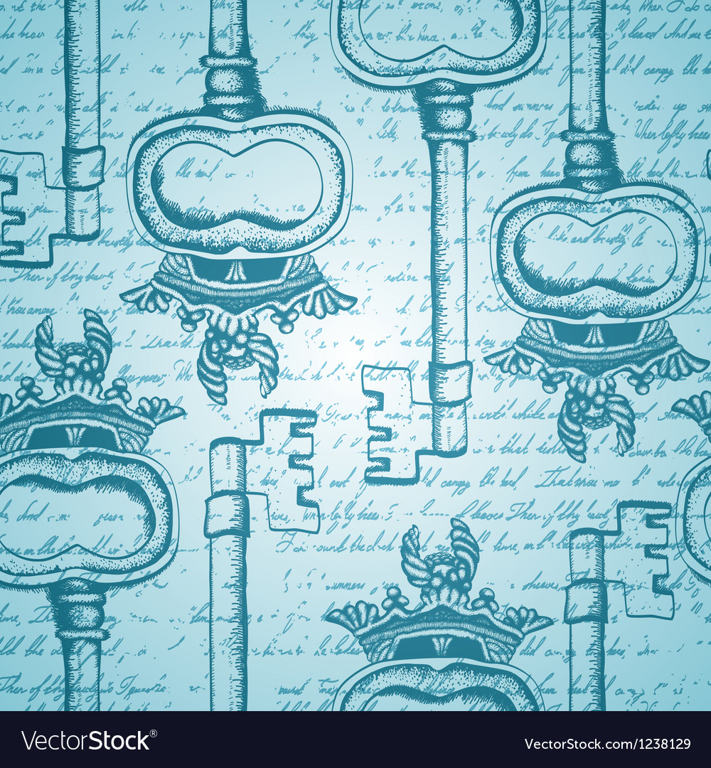 Seamless vintage pattern with antique hand-drawn vector image