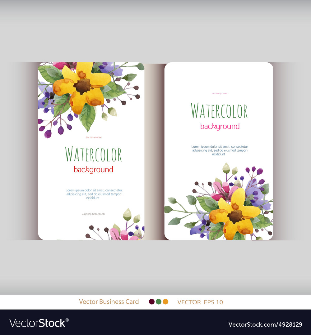Set abstract watercolor cards