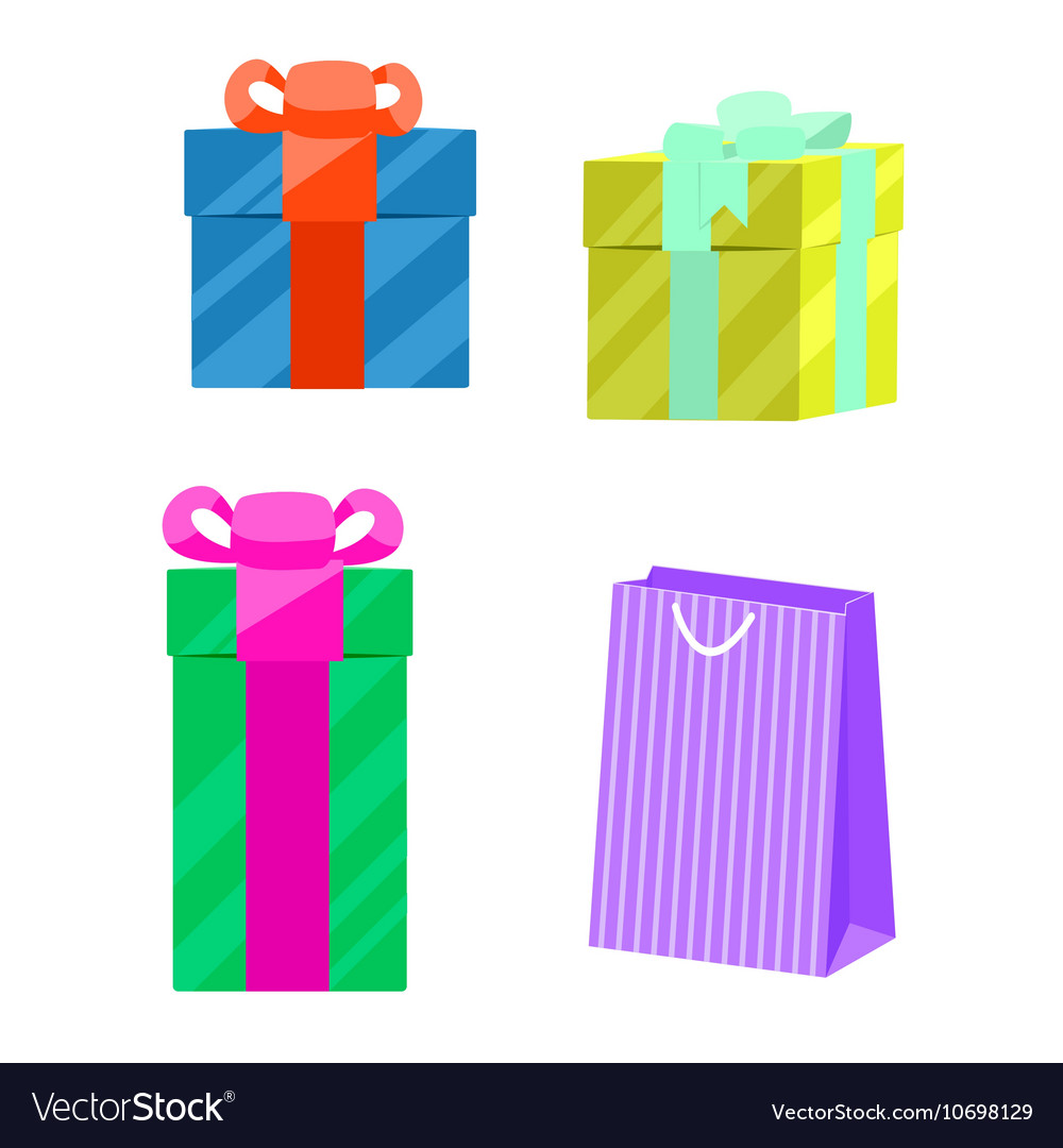 Set of gift boxes and paper bag