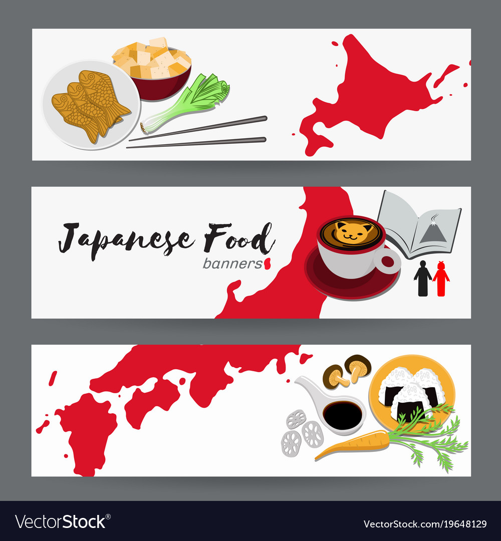 Set of japanese food banners design templates