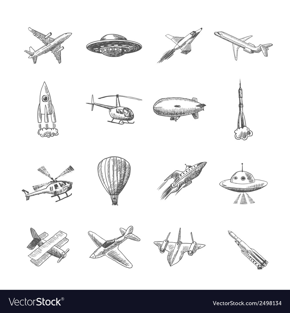 Aircraft icons sketch vector image