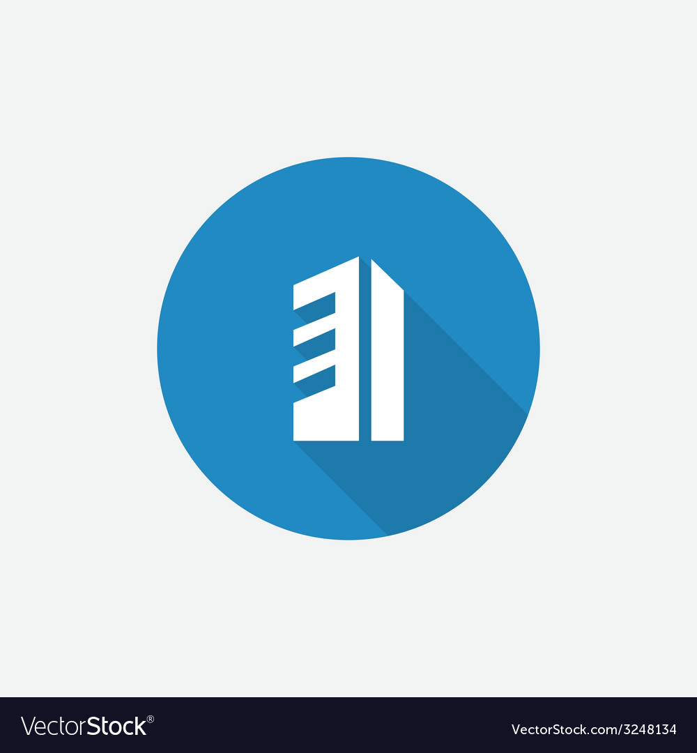 Building Flat Blue Simple Icon with long shadow