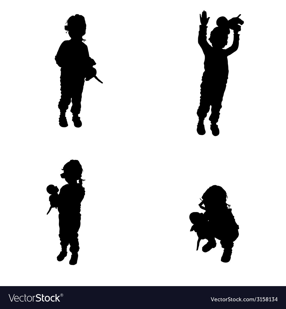 child posing with a toy in his hand silhouette vector image