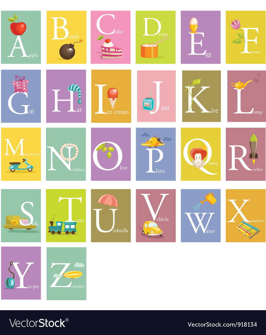 colorful abc letters royalty free vector image