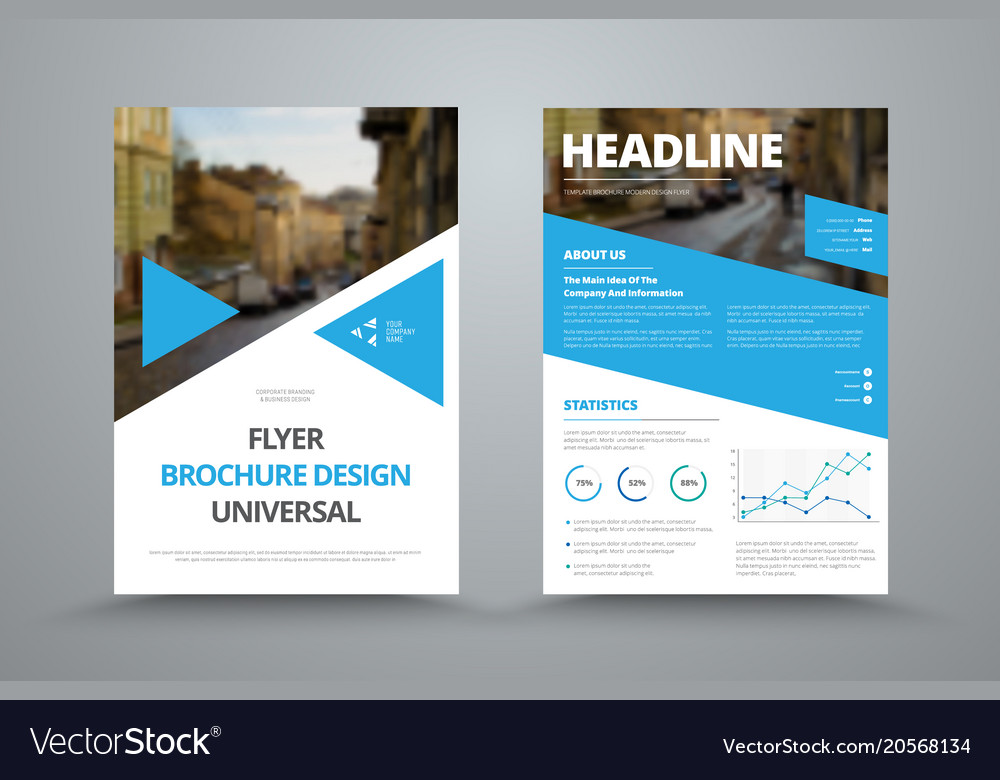 Flyer Template With Triangles Diagonals And A Vector Image