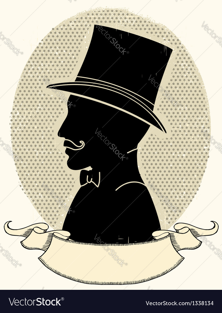 Gentleman in a top black hat and mustache Vector Image 617f0bf47f8