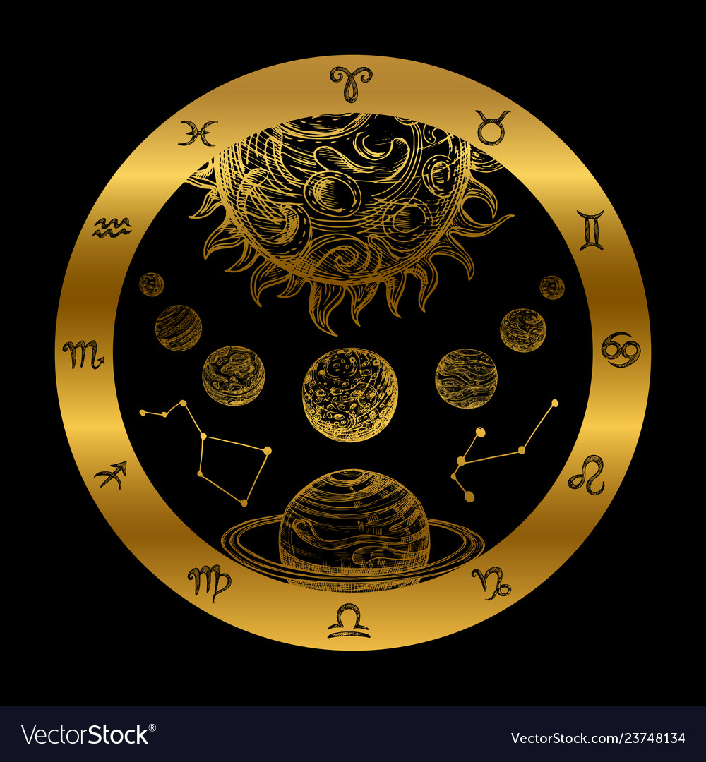 Golden astrology concept with planets isolated on