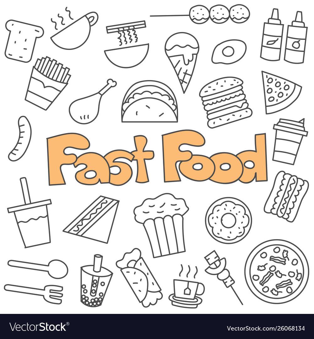 Hand drawn doodle fast food set