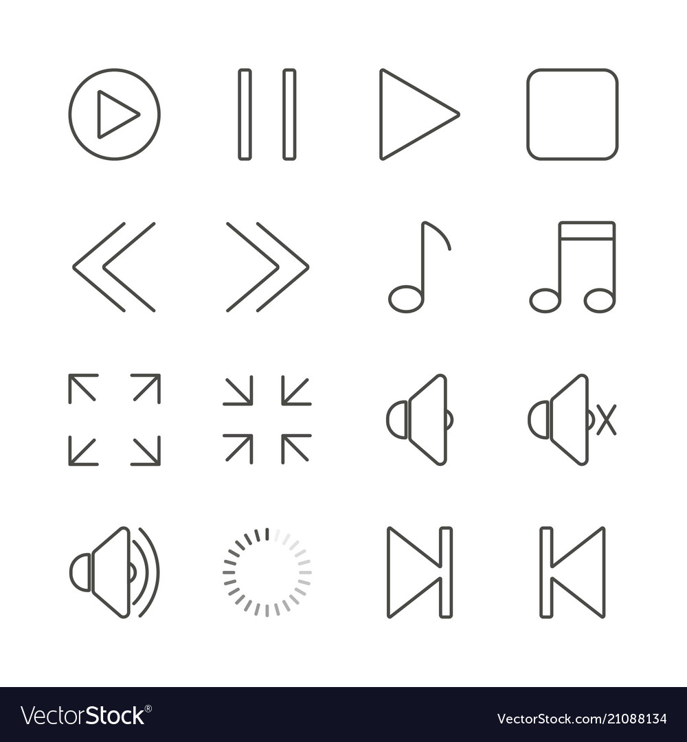 Media player set icon outline music collec
